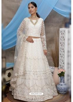 White Net Thread Embroidered Designer Lehenga Choli