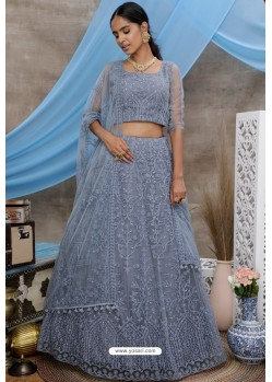 Grey Net Thread Embroidered Designer Lehenga Choli