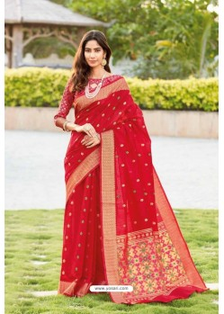 Red Weaving Silk Jacquard Worked Designer Saree