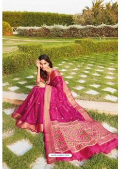 Rani Pink Weaving Silk Jacquard Worked Designer Saree