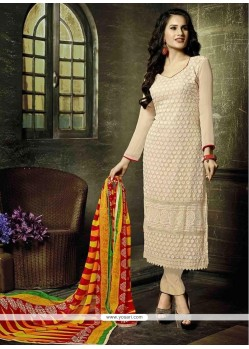 Whimsical Embroidered Work Georgette Churidar Designer Suit