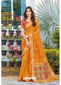 Orange Weaving Silk Jacquard Worked Designer Saree