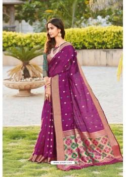 Purple Weaving Silk Jacquard Worked Designer Saree