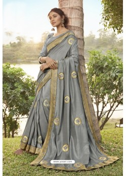 Grey Soft Dola Silk Stone Worked Designer Saree
