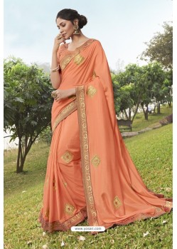 Dark Peach Soft Dola Silk Stone Worked Designer Saree