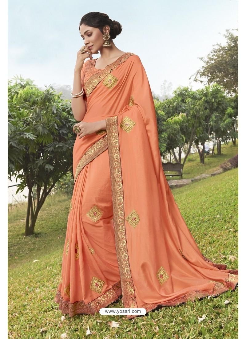 Dark Peach Soft Dola Silk Stone Worked Designer Saree