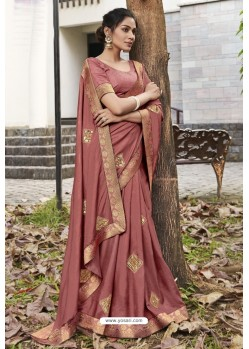 Old Rose Soft Dola Silk Stone Worked Designer Saree