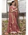 Old Rose Soft Dola Silk Stone Worked Designer Saree