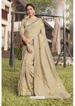 Cream Soft Dola Silk Stone Worked Designer Saree