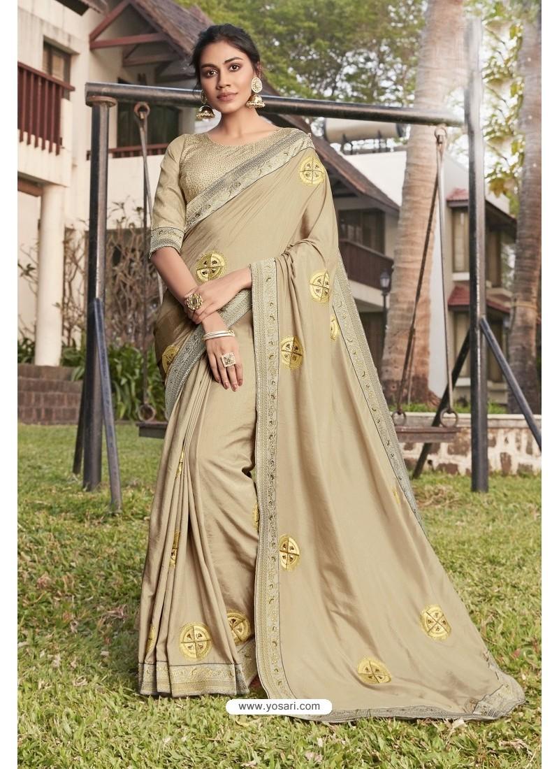 Cream Soft Dola Silk Stone Worked Designer Saree