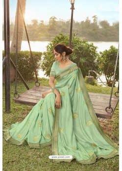 Sea Green Soft Dola Silk Stone Worked Designer Saree