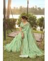 Sea Green Soft Dola Silk Stone Worked Designer Saree