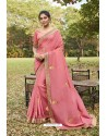 Light Pink Soft Dola Silk Stone Worked Designer Saree