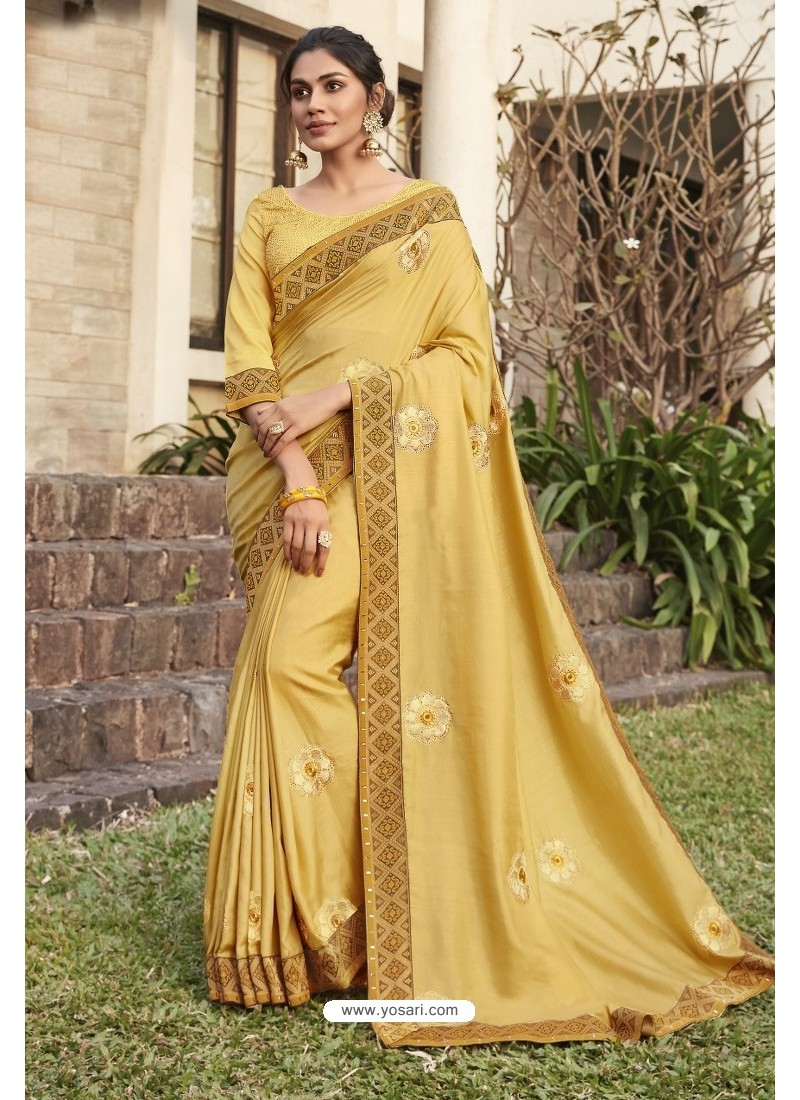Yellow Soft Dola Silk Stone Worked Designer Saree
