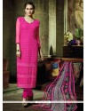 Thrilling Hot Pink Georgette Churidar Salwar Kameez