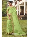 Green Soft Dola Silk Stone Worked Designer Saree