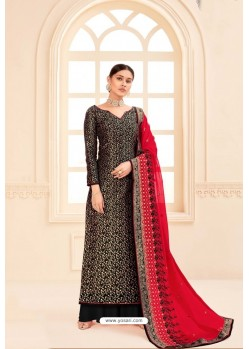 Black Pure Silk Jacquard Heavy Designer Suit