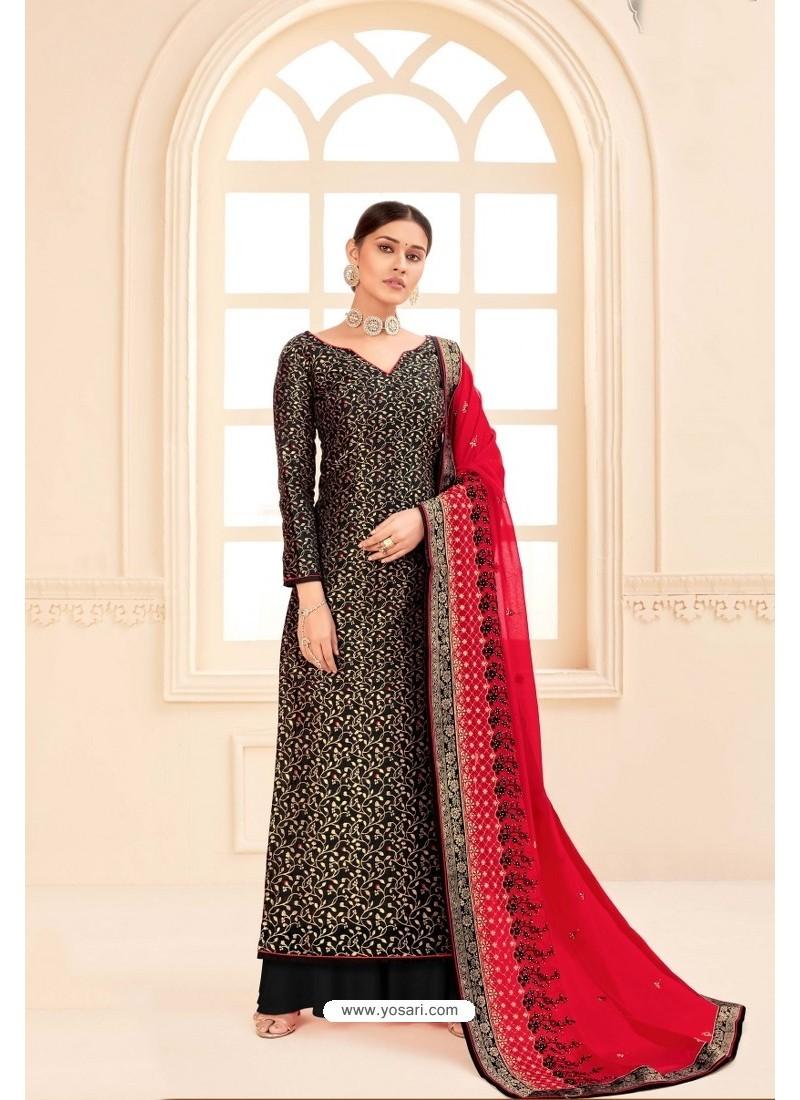 Black Pure Silk Jacquard Heavy Designer Suit
