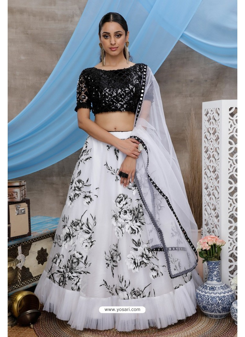 White And Black Soft Organza Heavy Worked Party Wear Lehenga Choli