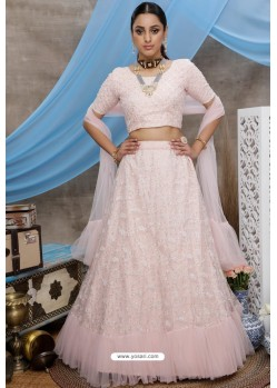 Light Peach Net Heavy Worked Party Wear Lehenga Choli