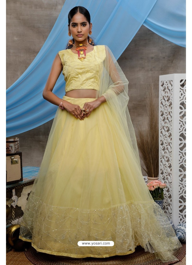 Yellow Net Heavy Worked Party Wear Lehenga Choli