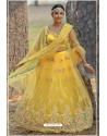 Yellow Butterfly Net Party Wear Lehenga Choli