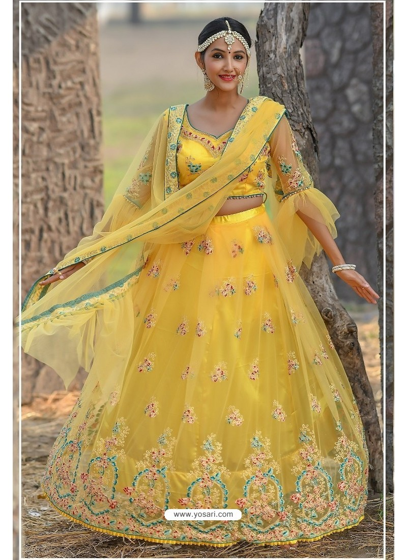 Yellow Butterfly Net Party Wear Lehenga Choli