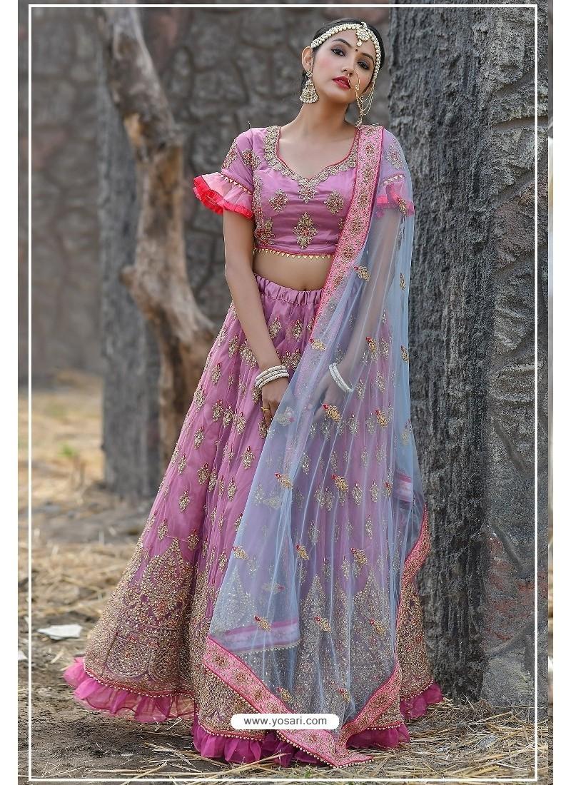 Hot Pink Butterfly Net Party Wear Lehenga Choli