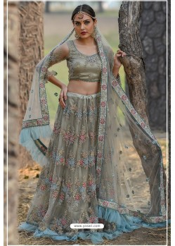 Golden Butterfly Net Party Wear Lehenga Choli