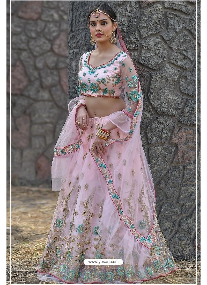 Pink Butterfly Net Party Wear Lehenga Choli