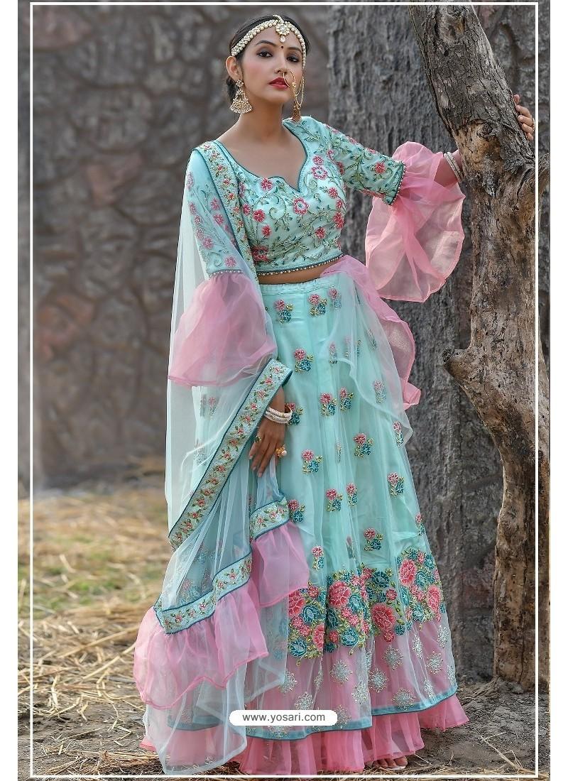 Sky Blue Butterfly Net Party Wear Lehenga Choli