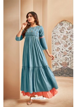 Blue Party Wear Mal Cotton Readymade Kurti