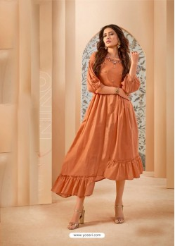Orange Party Wear Mal Cotton Readymade Kurti