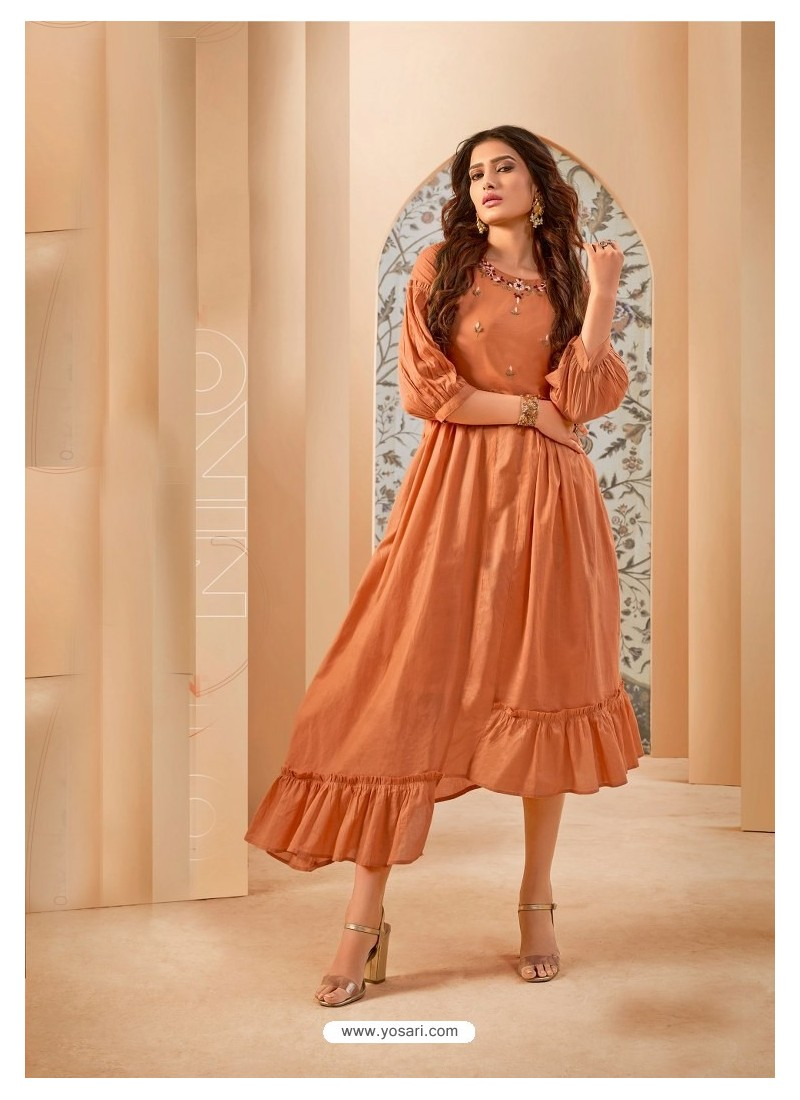 Orange Party Wear Mal Cotton Readymade Kurti