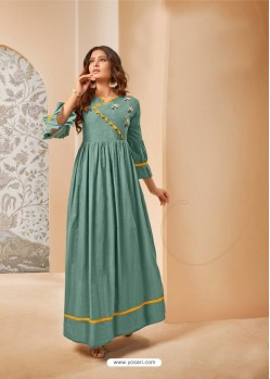 Teal Party Wear Mal Cotton Readymade Kurti