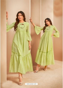 Sea Green Party Wear Mal Cotton Readymade Kurti