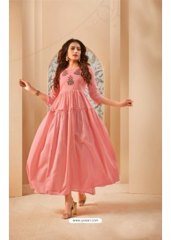 Pink Party Wear Mal Cotton Readymade Kurti