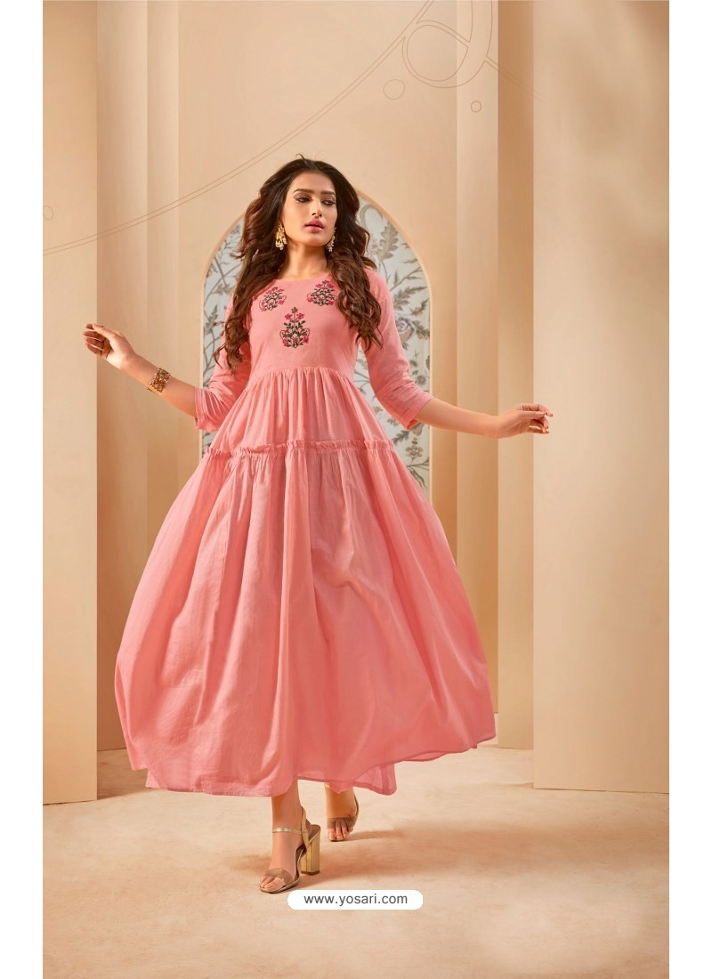 Pink Party Wear Mal Cotton Readymade Kurti
