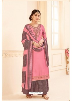 Pink Pure Crepe Party Wear Palazzo Suit