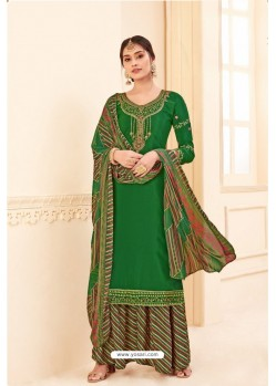 Dark Green Pure Crepe Party Wear Palazzo Suit