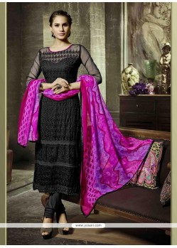 Entrancing Embroidered Work Georgette Churidar Salwar Kameez