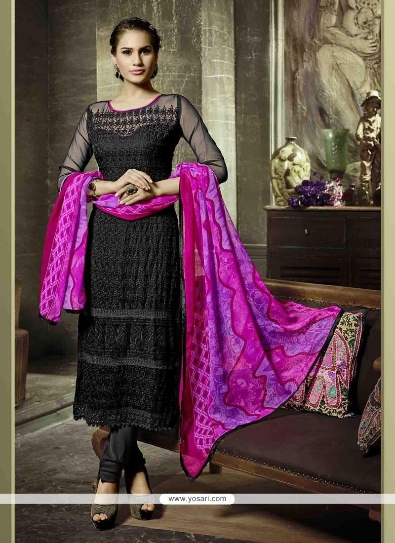 Entrancing Embroidered Work Georgette Churidar Salwar Kameez