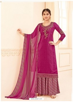 Medium Violet Pure Crepe Party Wear Palazzo Suit