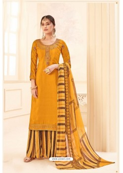 Yellow Pure Crepe Party Wear Palazzo Suit