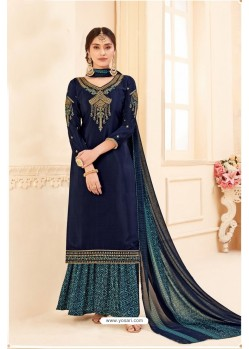 Navy Blue Pure Crepe Party Wear Palazzo Suit