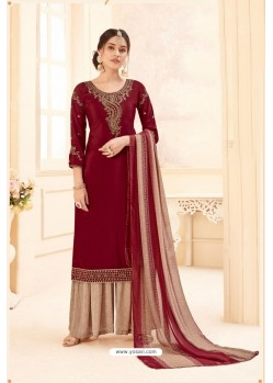 Maroon Pure Crepe Party Wear Palazzo Suit
