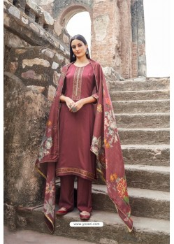Maroon Muslin Party Wear Designer Suit