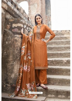 Rust Muslin Party Wear Designer Suit