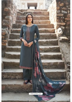 Dark Grey Muslin Party Wear Designer Suit