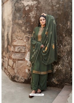 Mehendi Green Muslin Party Wear Designer Suit